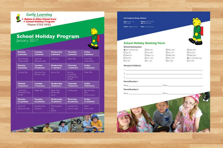 Early Learning Childcare & Kindergarten A4 flyer design