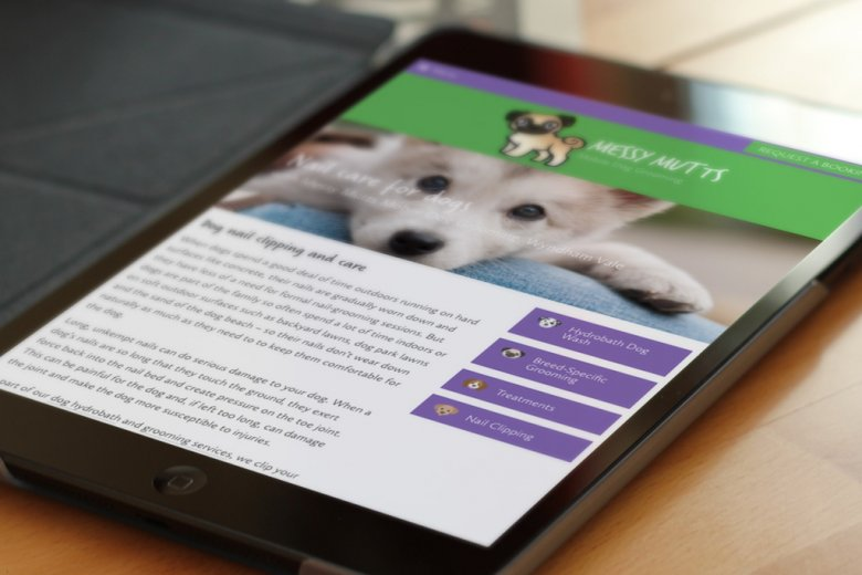 Messy Mutts Dog Grooming custom WordPress website design and development