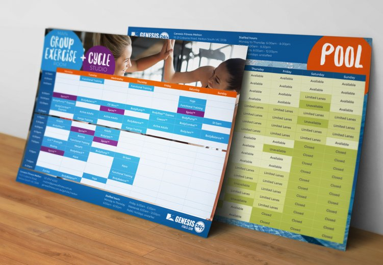 Genesis Fitness Melton timetable flyer design
