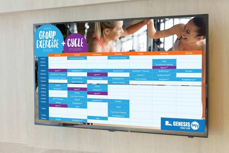 Genesis Fitness Melton timetable screen